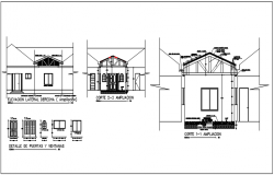 Roof truss building elevation in detail dwg file