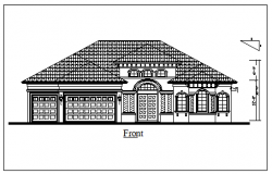 Roof type elevation design drawing of house design drawing