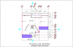 Rooftop Architectural Plan with construction view dwg file