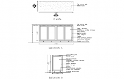 Rooling door elevation and plan detail dwg file