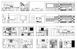 Room section detail 2d view layout dwg file