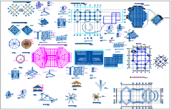 Round about pergola full architecture project details dwg file