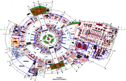 Round commercial building layout dwg file