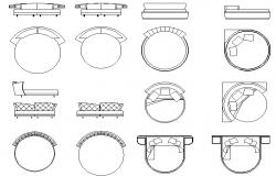 Round shape bed detail dwg file