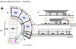 Round shape building plan, elevation and section detail dwg file