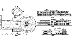 Round shape building plan and elevation detail dwg file