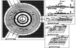 Round shape building plan detail dwg file