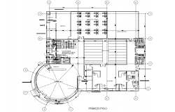 Round shape column building working plan detail dwg file
