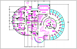 Round shape commercial building plan detail dwg file
