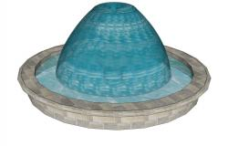 Round shape stone water fountain 3d design cad drawing details skp file