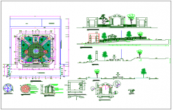 Rural park landscaping architecture project dwg file