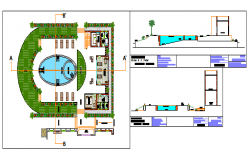 SWIMMING POOL AND OTHER ACTIVITIES Plan and section design drawing in bungalow