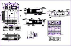 Sales office building plan,side view and section view with door,widow and electric view dwg file