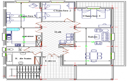 Salon Architecture Layout and Elevation dwg file