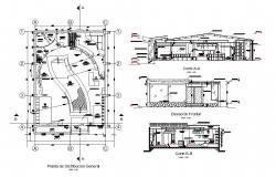 Salon with boutique elevation, section and distribution plan details dwg file