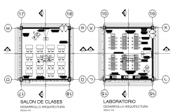 Saloon working plan detail dwg file
