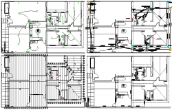 Sanitary and electrical installation details of single family house dwg file