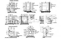 Sanitary bathrooms plan, installation and plumbing details dwg file