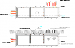 Sanitary boxes plan and section detail dwg file