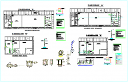Sanitary design view for school with plan of pavilion A and B dwg file