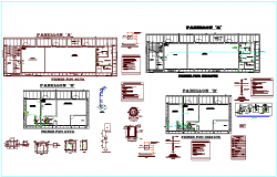Sanitary detail view plan design of school classroom with necessary detail dwg file