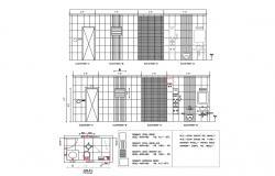 Sanitary elevation, section and installation plan cad drawing details dwg file