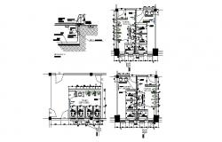 Sanitary facilities plan and installation details of swimming pool dwg file