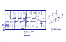 Sanitary installation, plumbing riser and plan details of school dwg file