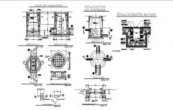 Sanitary installation, water tank and plumbing details of toilet dwg file
