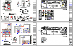 Sanitary installation and auto-cad details of bank office building dwg file