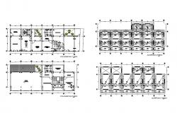 Sanitary installation and cover plan details of house floors dwg file