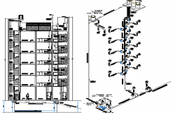 Sanitary installation and isometric view of multi-flooring housing building dwg file