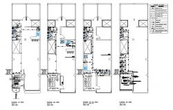 Sanitary installation and plumbing details of housing floor dwg file