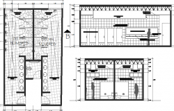 Sanitary installation and rest room architecture layout details dwg file