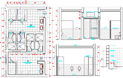Sanitary installation and sections of urban industrial plant dwg file