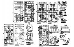 Sanitary installation details of all floors of apartment building with plan cad drawing details dwg file
