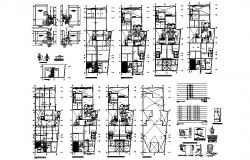 Sanitary installation details of all floors of apartment building with plan dwg file