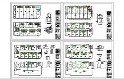 Sanitary installation details of all floors of hotel building dwg file
