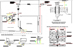 Sanitary installation details of building dwg file
