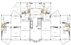 Sanitary installation details of housing building dwg file