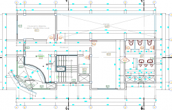 Sanitary installation details of local civil security office, structure details dwg file