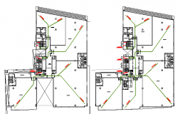 Sanitary installation details of multi-flooring office building dwg file