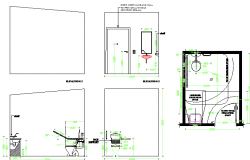 Sanitary installation details of sales office module dwg file