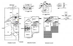 Sanitary installation details of two-story housing floors dwg file