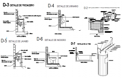 Sanitary installation details with construction dwg file