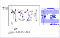 Sanitary installation floor plan with detail for community center dwg file