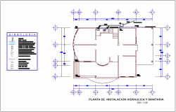 Sanitary installation floor plan with detail for office dwg file