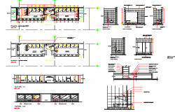 Sanitary installation of ground floor of shopping center dwg file