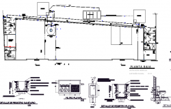 Sanitary installation of nave industrial plant project dwg file
