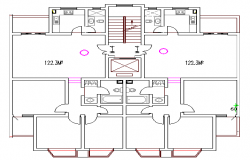 Sanitary installation of one family house plan dwg file